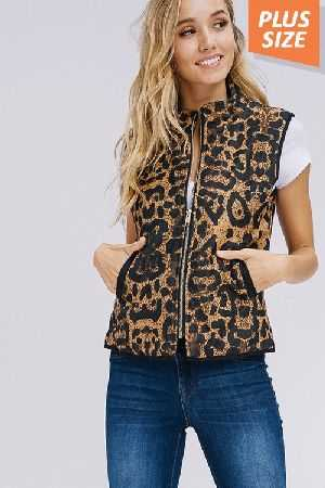 Plus Size Animal Print Padded Vest With Pockets