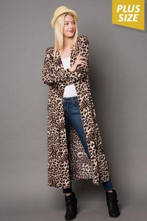 e92619e611c5 Plus size animal print long cardigan | Marsha's Clothing