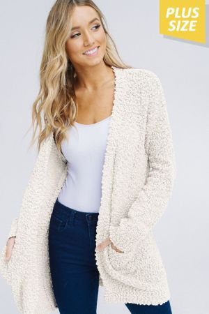 d323925f4dcd0 Tap to expand. Plus size popcorn cardigan with pockets