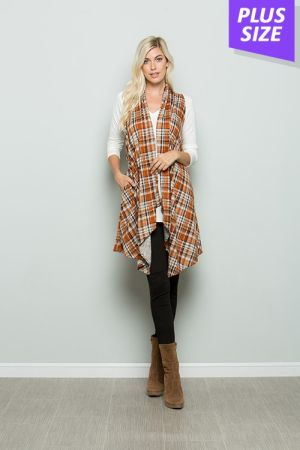 Plus size sleeveless plaid draped cardigan
