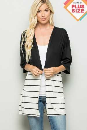 Solid Stripe Contrast Cardigan With Slit Plus Size