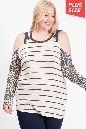 Striped Open Shoulder Top Plus Size
