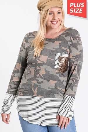 Camo Striped Hem Pocket Top Plus Size