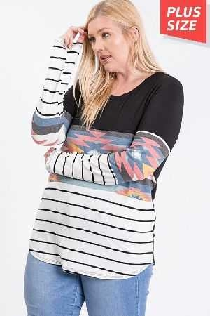 Color Block Top Plus Size