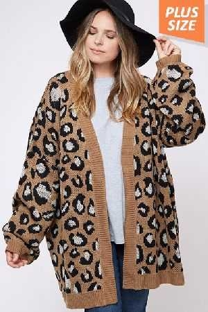 Open Front Leopard Print Knit Cardigan