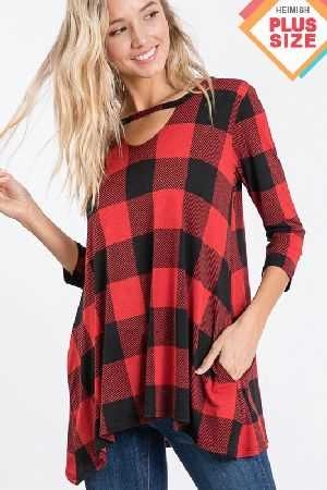 Plaid Top With Key Hole Side Pocket Plus Size