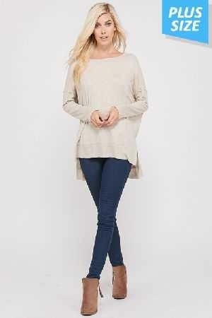 Plus Long Sleeve Thread Lining Relaxed Top