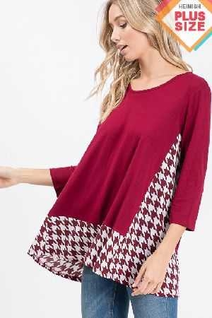 Solid And Hounds Tooth Top Plus Size