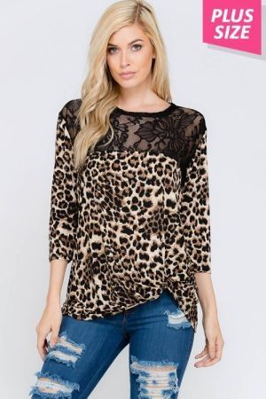 Plus size animal and lace contrast top