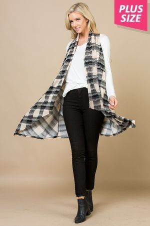 Plus size draped plaid print vest