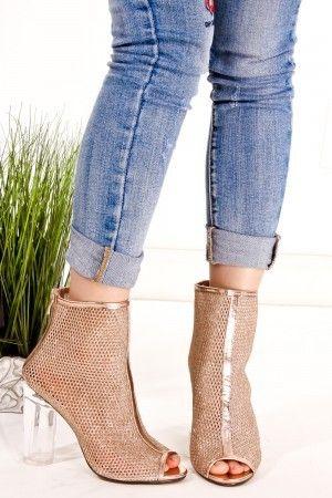 Clear heel peep toe booties