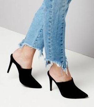 Pointy toe slip on mule