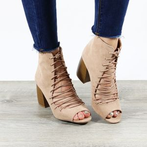 lace up front peep toe booties