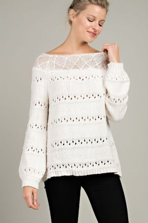 Boat neck sweater top