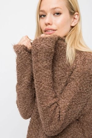 Furry popcorn turtleneck sweater
