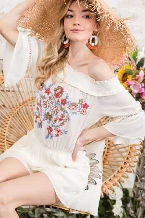 Floral embroidered off shoulder romper