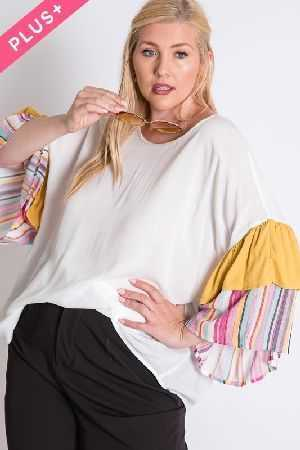 MULTI STRIPE SLEEVE TOP