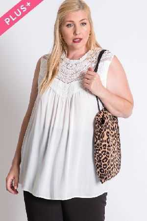 PLUS SIZE BOHO CROCHET LACED SLEEVELESS TOP