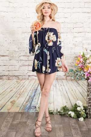 Romantic floral off shoulder romper