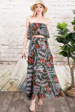Stripe and floral maxi skirt and strapless crop top set