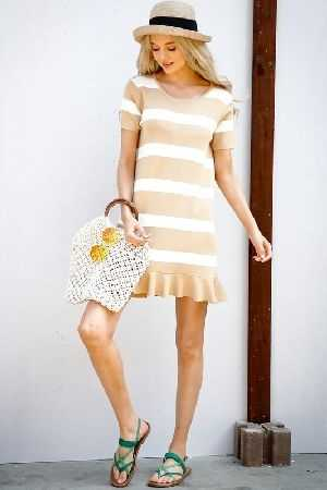 Stripe color block ruffle dress