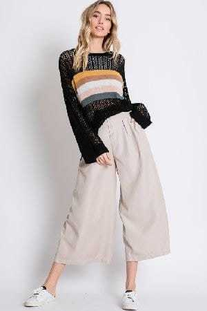 Colorblock stripe accent open knit sweater