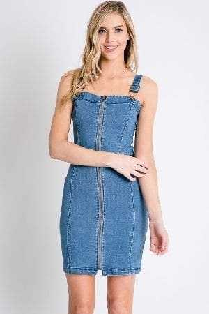 Denim bodycon zip up overall dress