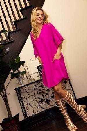 Solid tiered bell sleeve dress