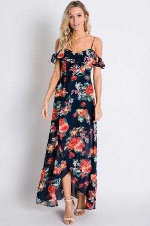 Tulip wrapped flroal maxi dress