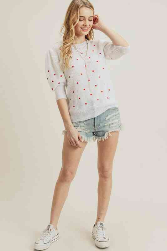 Polka dot puff sleeve knit top