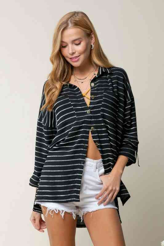 Textured stripe linen button down shirt