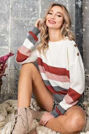 Button Trim Striped Sweater