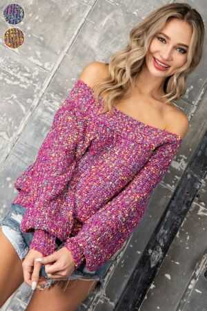 Confetti Off Shoulder balloon Sleeve Sweater