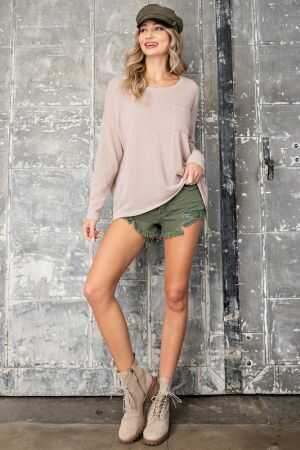 Drop Shoulder Dolman Long Sleeve Top
