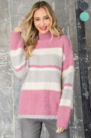 Striped Mock Neck Fuzzy Sweater