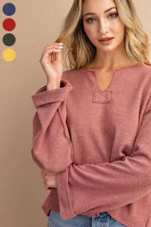 V Neck Wide Long Sleeve Casual Top