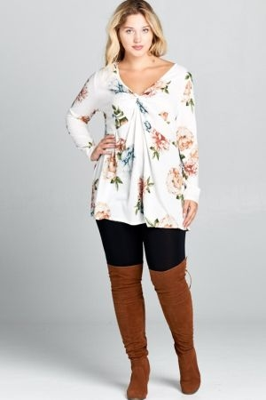Plus size hacci floral deep v neck fashion top