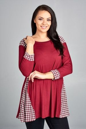 Plus size jersy houndstooth contrast tunic top