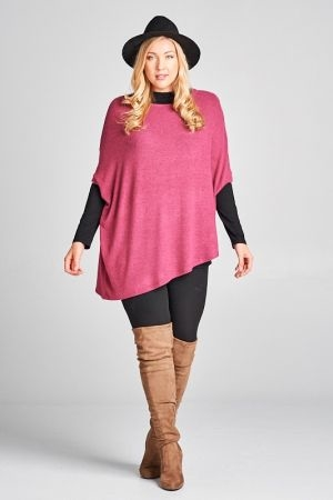 Plus size two tone soft hacci brush asymmetrical pull over top