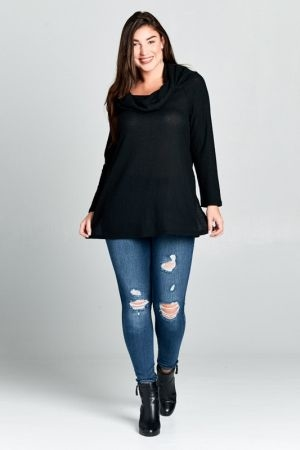 Plus size waffle brush tunic top