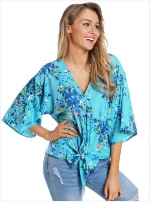 Floral tie up front blouse