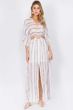Side Key Hole Stripe Maxi Dress