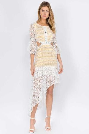 Embroidered Ruffle Eyelet High Low Dress