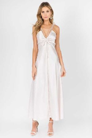 Satin V neck Maxi Dress
