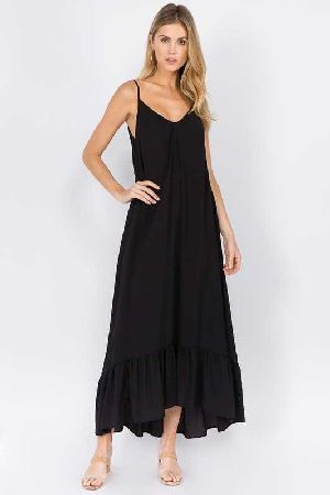 Spaghetti Strap Ruffle Bottom Maxi Dress