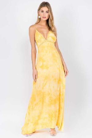 Tie Dye Maxi Dress with Lace Detail