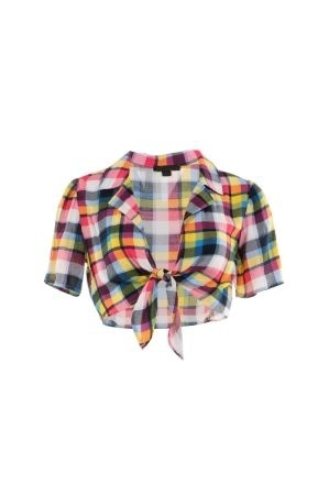 Multi color plaid tie front crop top