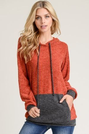 Hooded contrast sweater