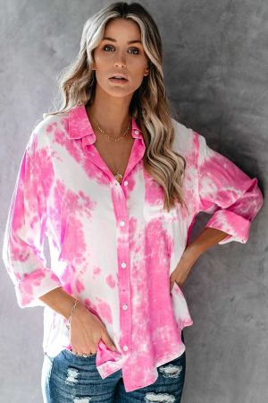 Pink Whirlwind Tie Dye Button Shirt with Pocket