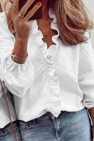 White Long Sleeve Ruffles Casual Blouse